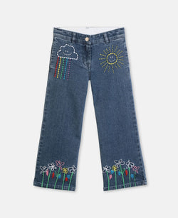 Girl Denim Trousers with Weather Embroidery - Il Bambino Store