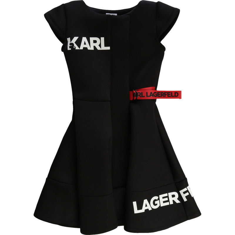 Short Sleeve Neoprene Dress with Karl Logo and Side Ribbon - Il Bambino Store