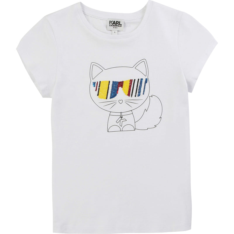 Short Sleeve Choupette T-shirt with Multicolored Sequins - Il Bambino Store