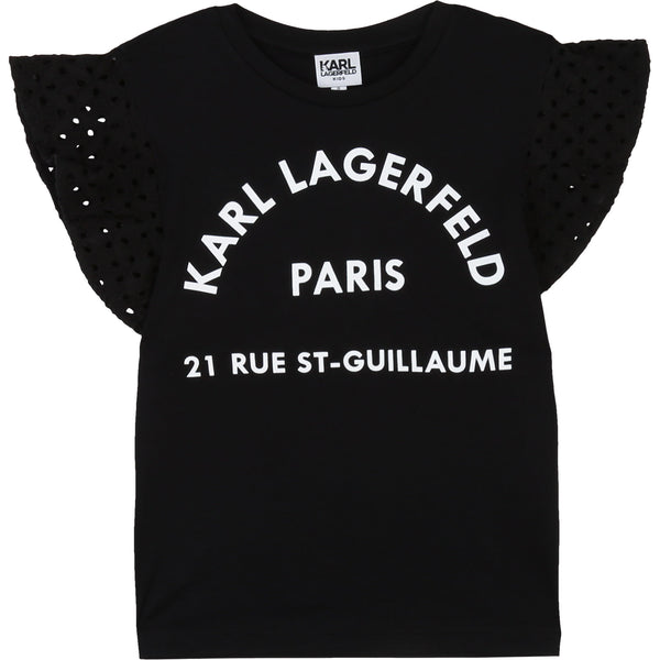 Logo T-shirt with Eyelet Sleeves - Il Bambino Store