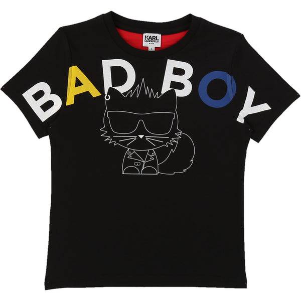 "Short Sleeve T-shirt with ""Bad Boy"" Cat - Il Bambino Store"