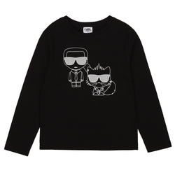 Boys Long Sleeve Tee with Karl & Cat Graphic - Il Bambino Store