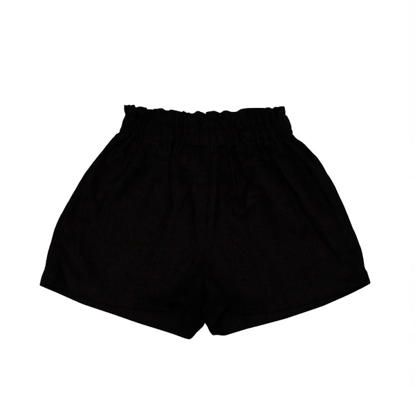 Shorts Black Linen For Girl - Il Bambino Store
