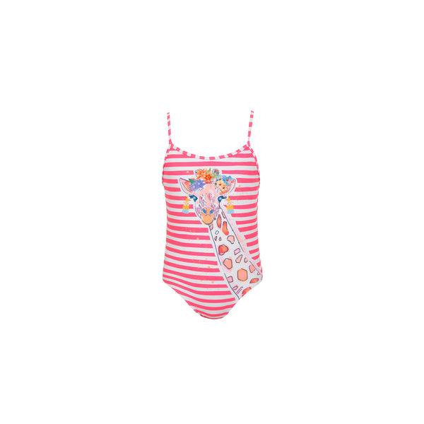 Girl Hot Pink Stripe Giraffe Strappy Swimsuit - Il Bambino Store