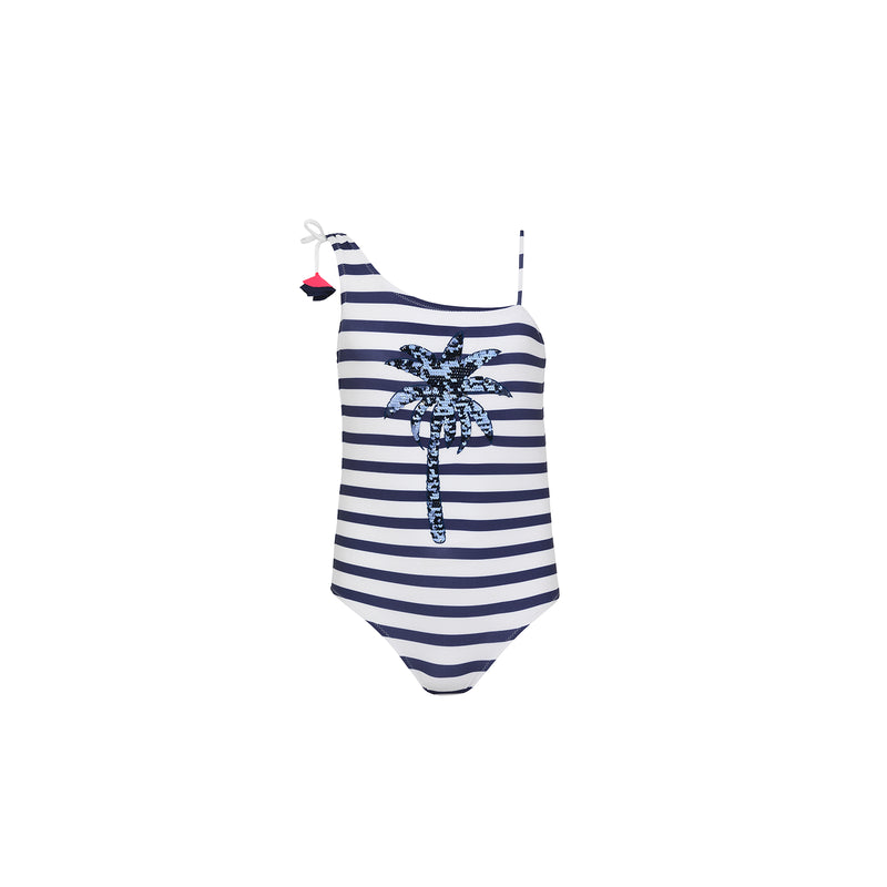 Teen Girl Blue Stripe Palm Tree Swimsuit - Il Bambino Store