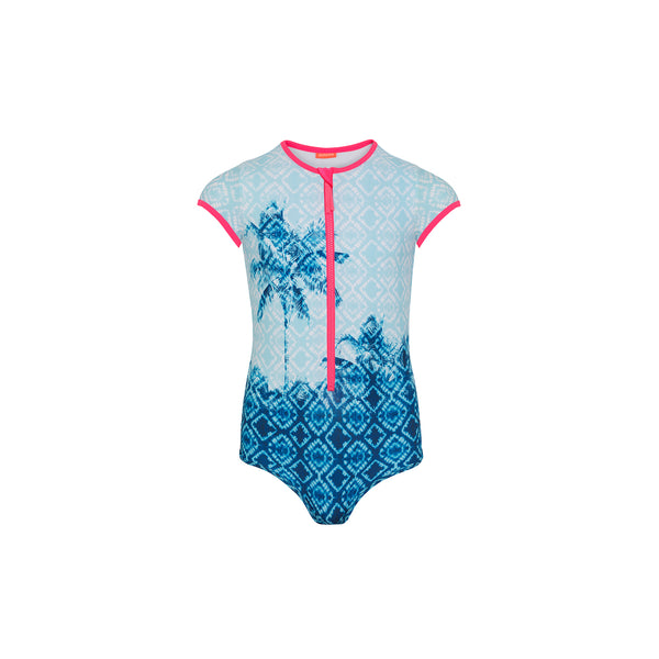 Teen Girl Blue Palm Tree Surf Suit - Il Bambino Store