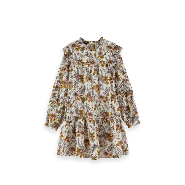 Girls Floral Allover Printed Ruffle Dress - il Bambino Store