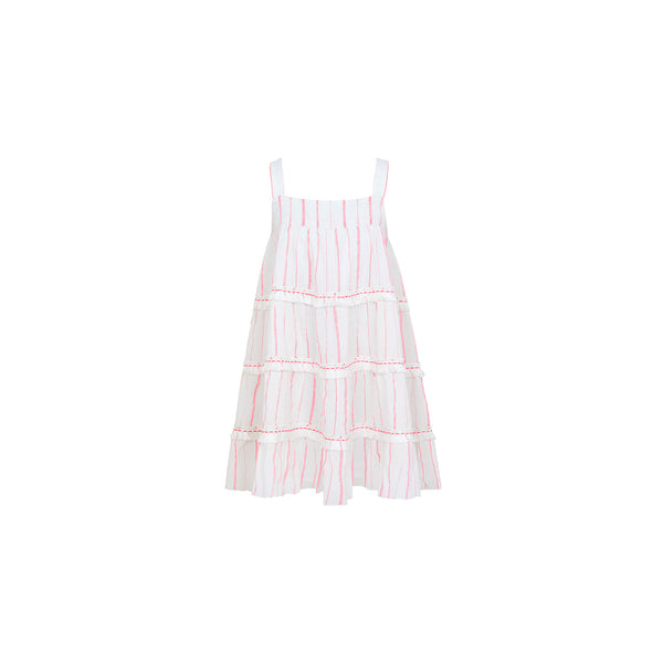 Girl Pink Stripe Fringed Tier Dress - Il Bambino Store