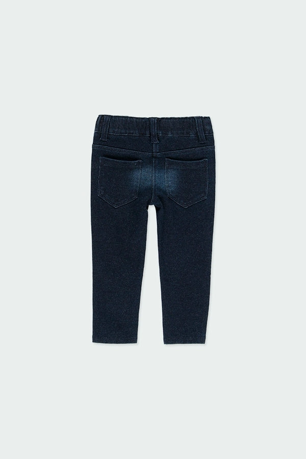Baby Girl Fleece Denim Trousers Dark Blue - Il Bambino Store