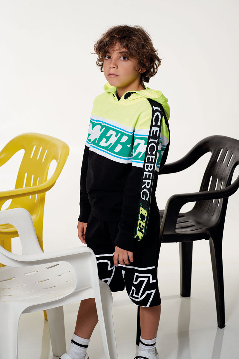 Boy Iceberg Hooded Sweatshirt With Sleeve Detail Felpe - Il Bambino Store