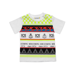 Baby Boy Checkered Ice Iceberg Striped Triangles Ss Tee - Il Bambino Store