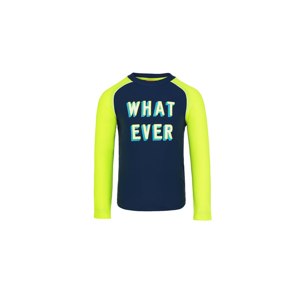 Boy Navy 'What Ever' Long Sleeve Rash Vest - Il Bambino Store