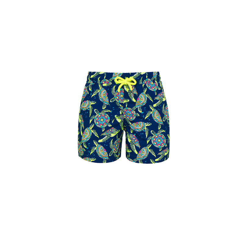 Boy Navy Phsychedelic Turtle Swim Short - Il Bambino Store