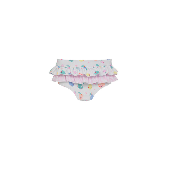 Baby White Fruit Friends Frill Nappy Pant - Il Bambino Store