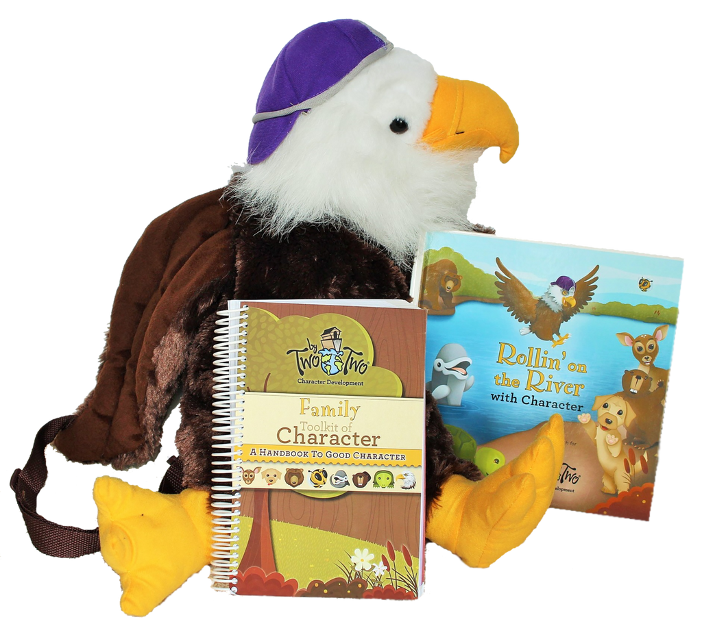 Two by Two® Family Toolkit of Character - includes Rollin' On the River with Character Introductory Book, Handbook to Good Character, and Eagle Backpack