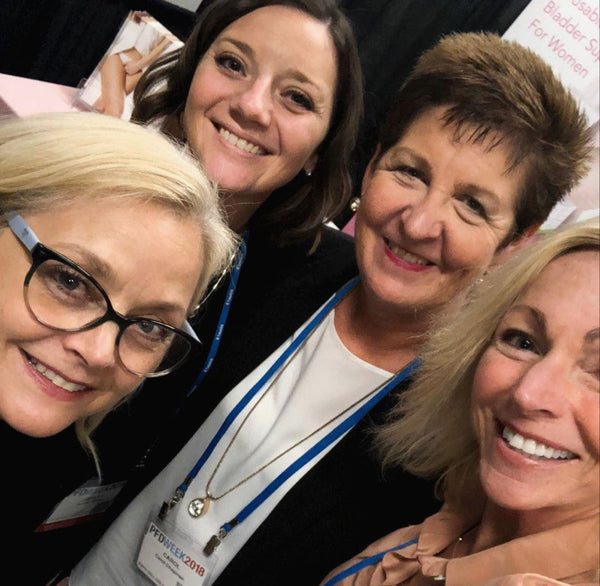 Elizabeth Wood (COO Below Your Belt), Ashley Miller (Marketing, HPSRx), Carol Chapman (VP Resilia), and Missy Lavender (CEO Below Your Belt), at AUGS PFD Conference.