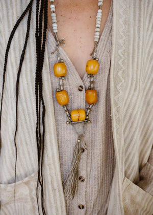 One of a Kind Amber Mala Necklace