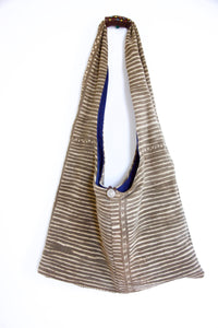 'Horizontal Stripe' Cross Body Bamana Bag with beaded handle