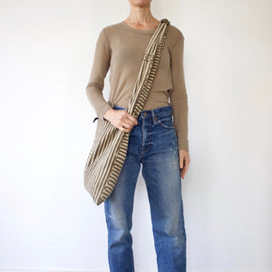 'Caramel Stripe' Bamana Cross Body Bag