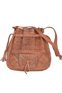 Beautiful Bohemian Moroccan embossed Leather shoulder bag for women