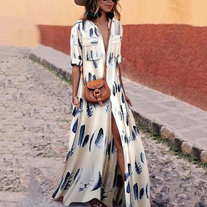 Autumn and Winter Colorful Stripe Printed Bohemian Dress