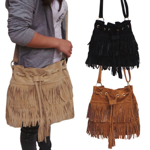 Drawstring Bucket Bag Women Handbag Faux Fringe