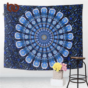 Peacock Tapestry Blue Home Textiles Indian Mandala