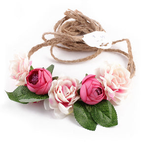 Bohemian Women Bride Flowers Headband Rose Flower Crown Hairband Ladies Hair