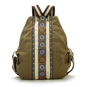 Boho Canvas Backpacks for Women Embroidery Patchwork Vintage Drawstring Bag