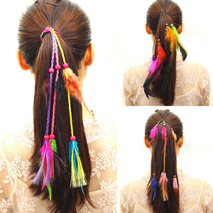 Bohemian Elastic Hair Bands Wind Color Girl Feather Headband