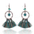 Boho vintage alloy tassel earrings Bohemian ethnic