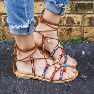 Bohemia Sandals Gladiator Leather Sandals Flats Shoes