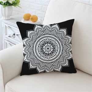 Mandala Print Cushion Cover Floral Pillow Case White and Black
