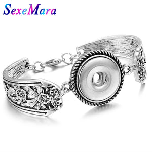 Snap Button Bracelet Bohemian Silver Metal Snap