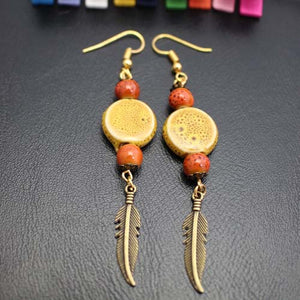 Bohemian Vintage Ethnic Earrings Ceramics Pie