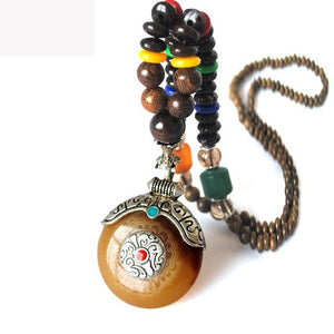 Handmade Nepal Necklace Buddhist Mala Wood Beads Pendant