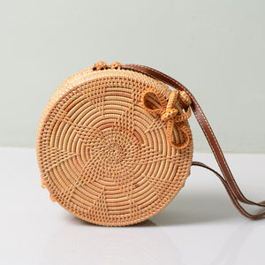 Summer Woven Straw Bag Rattan Brown Black White Bohemia Beach Bag Handmade