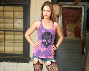 Ladies Skull Triblend Bleach Dyed Racerback Tank