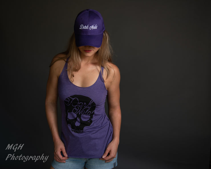 Dark Nola Ladies Skull Triblend Racerback Tank - Purple