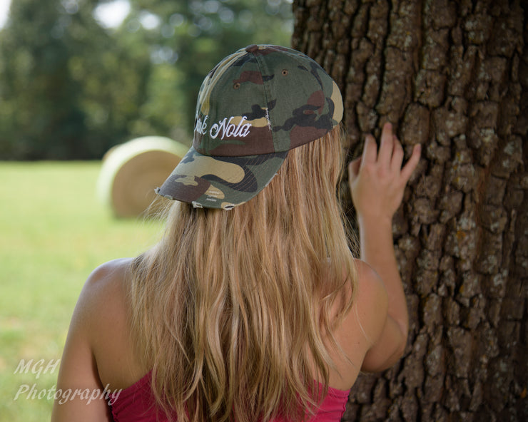 Dark Nola Camo Distressed Cap