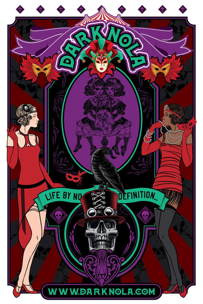 art deco masquerade, colorful poster, with masks and skulls