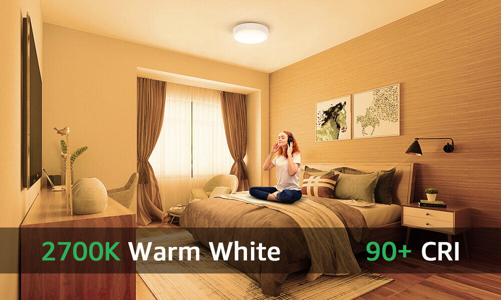 32W Bedroom LED Ceiling Lights White, Glass and Metal Material, 2800LM, 2700K Warm White(EU Standard)
