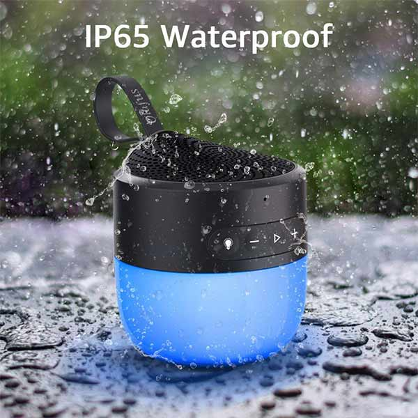 Portable Bluetooth 5.0 Wireless Speaker with Dimmable LED Light Color Changing with Music IP65 Waterproof(EU Standard)