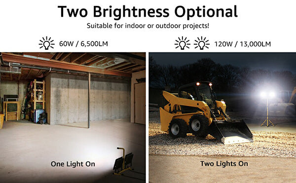 13000LM Dual Head Work Lights, 2x60W IP66 Waterproof Working Job Site Lights with Detachable Stand 5000K Daylight White Work Lamp(UK Plug)