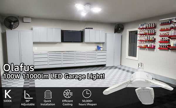 100W E26 LED Garage Lights, 11000lm Deformable Garage Lighting Bulb, 5000K LED Shop Lights with 3 Adjustable Panels, Bright Garage Ceiling Fixtures for Barn, Workshop, Warehouse, Working Light