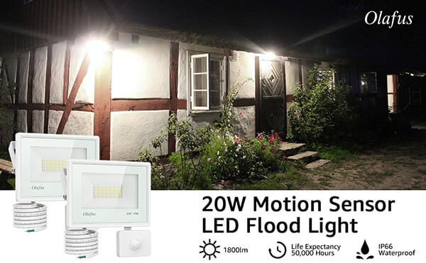 20W Security Lights with Motion Sensor, 1800lm LED PIR Floodlight 2 Pack, IP66 Waterproof Outdoor Security Flood Light, 5000K Daylight White