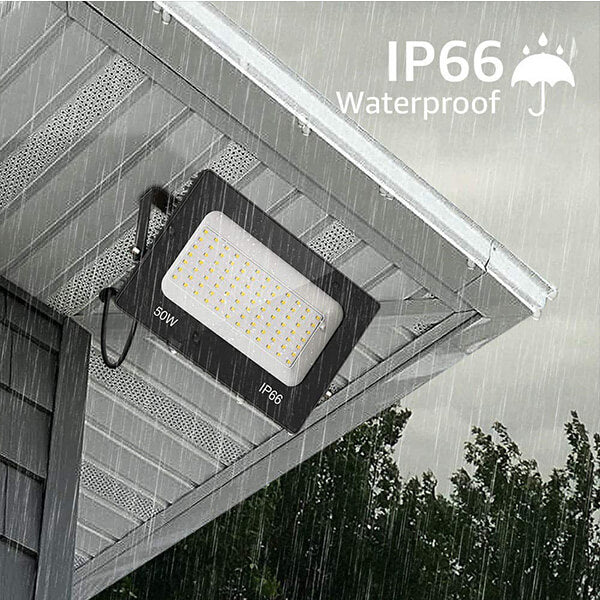 50W LED Flood Lights Outdoor 2 Pack, 5500lm Outside Floodlights, IP66 Waterproof 5000K Daylight White