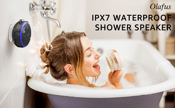 IPX7 Waterproof Wireless Speakers, Bluetooth 5.0 Bathroom Speaker with Suction Cup