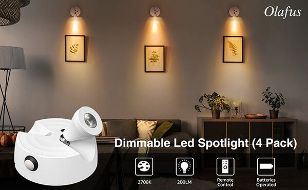 LED Picture Lights Battery Operated Dimmable LED Ceiling Spotlights with Remote Control 4 Pack(EU Standard)