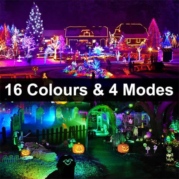 35W RGB LED Floodlight with Remote Control 2 Pack, Dimmable IP66 Waterproof Outdoor Flood Lights, 16 Colors, 4 Modes, Colour Changing Floodlights with Memory Function for Garden, Party(UK Plug)